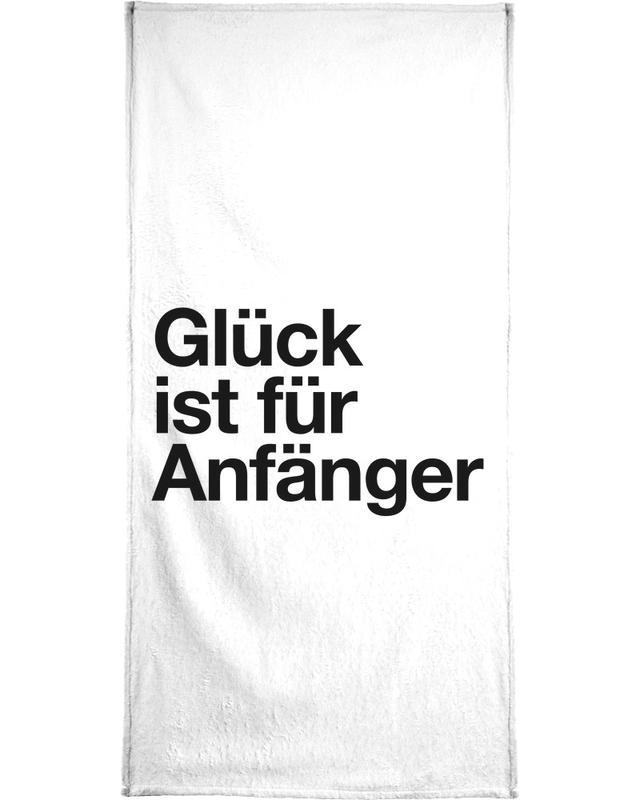 Schwarz & Weiß, Motivation, Lustig, Zitate & Slogans, Glück -Handtuch