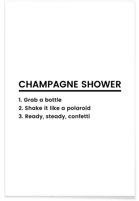 Fødselsdage, Lykønskninger, Champagne Shower Recipe Plakat