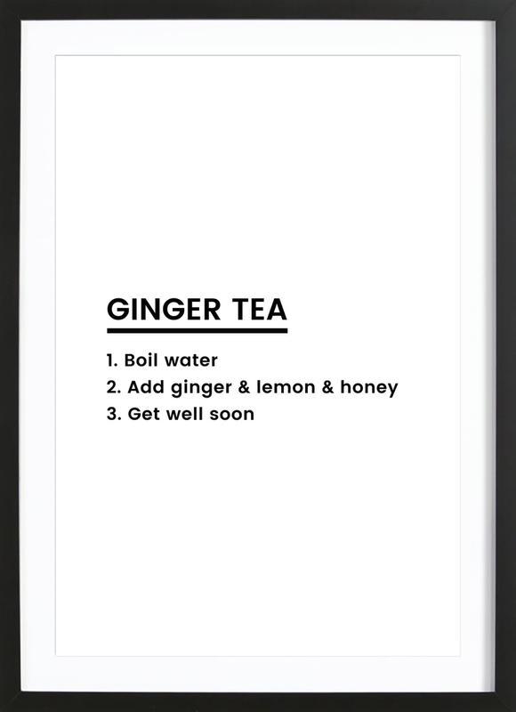 Ginger Tea Recipe affiche sous cadre en bois