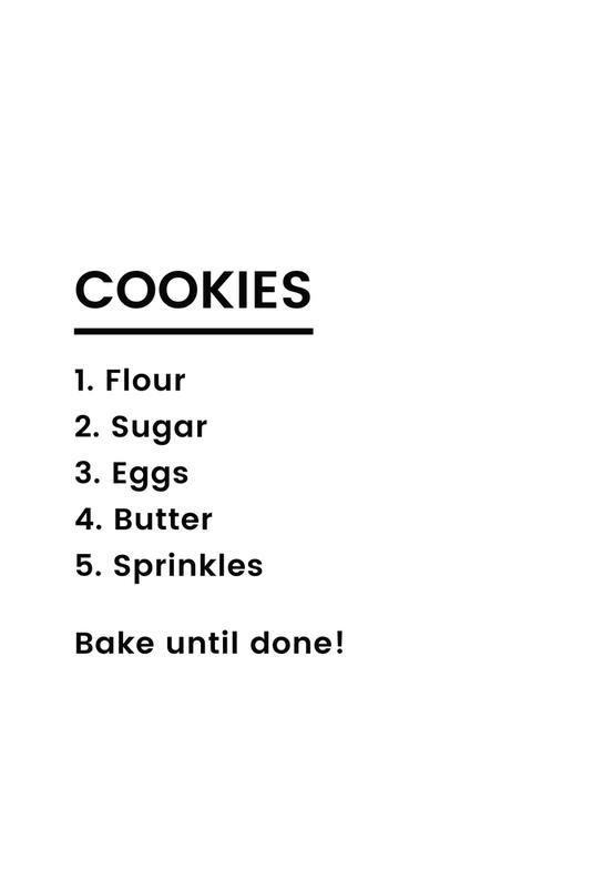 Cookie Recipe Aluminium Print