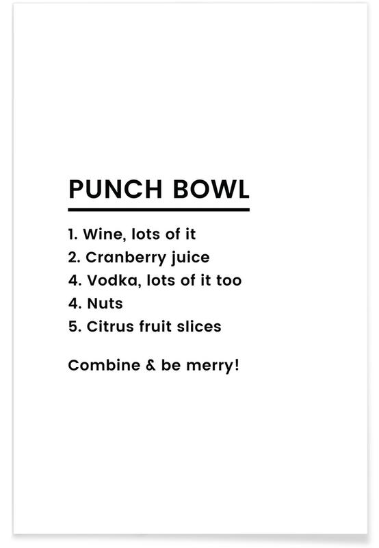 Sort & hvidt, Jul, Punch Recipe Plakat