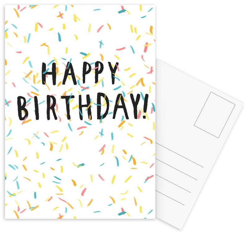 Happy Birthday Confetti Postcard Set