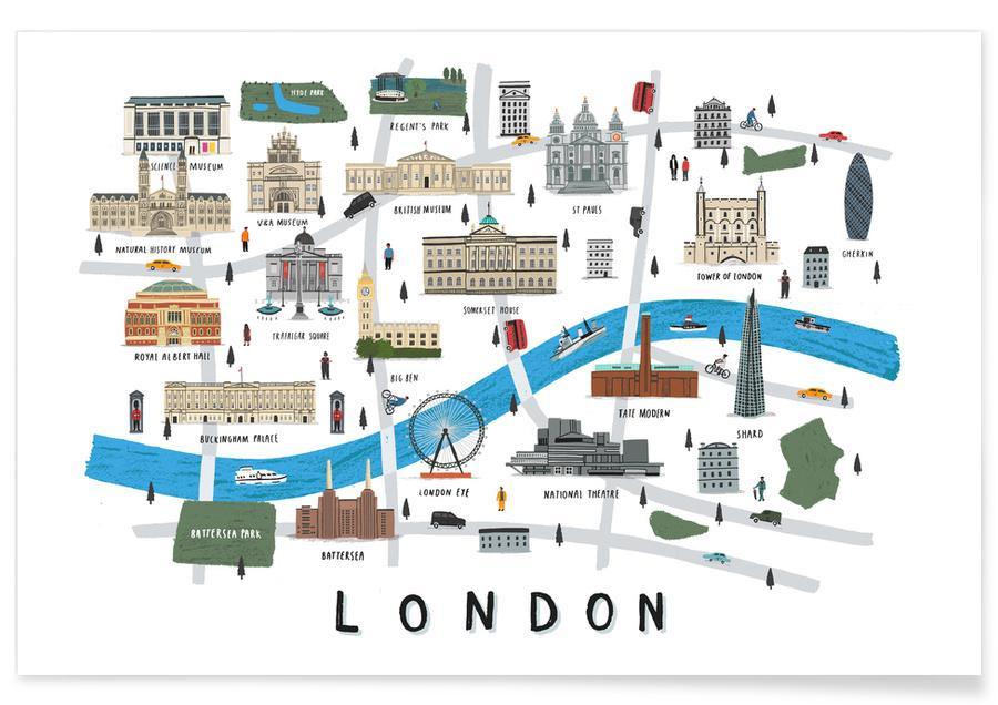 Stadskaarten, Londen, London Map poster