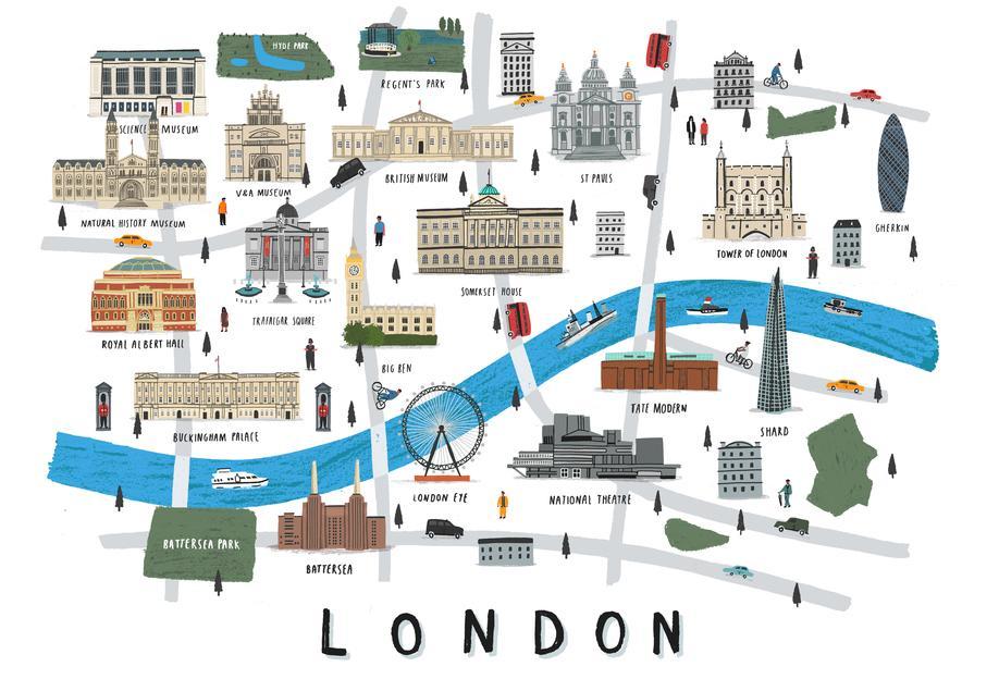 London Map -Acrylglasbild