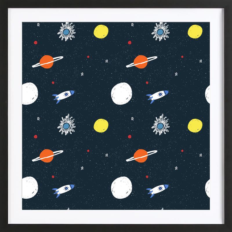 Planets Pattern Framed Print