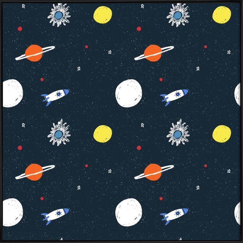 Planets Pattern -Bild mit Kunststoffrahmen