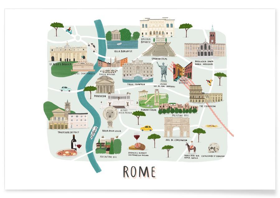 Stadskaarten, Rome, Rome Map poster