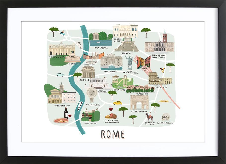 Rome Map -Bild mit Holzrahmen