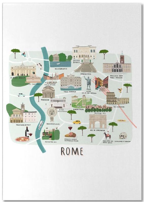 Cartes de villes, Rome, Rome Map bloc-notes