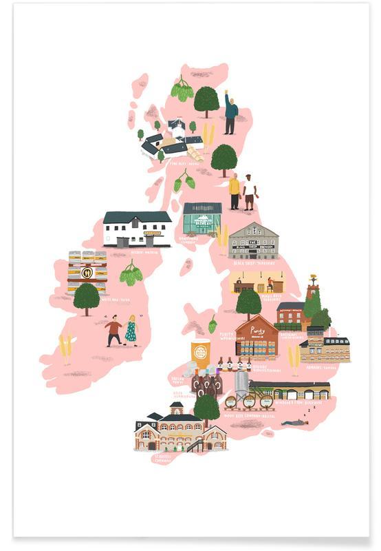 Cartes de pays, UK & Ireland Beer Map affiche