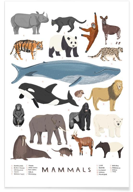 Art pour enfants, Illustration de mammifères affiche