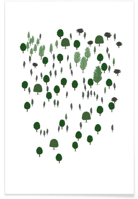 Børneværelse & kunst for børn, Træer, Skove, Forest Plakat