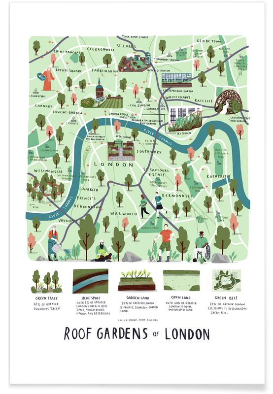 London, City Maps, London Roof Gardens Map 4 Poster