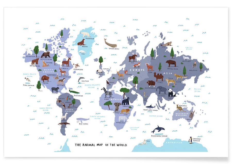 Cartes du monde, Animal World Map Print affiche