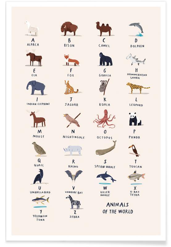 Nursery & Art for Kids, Animal Alphabet Poster