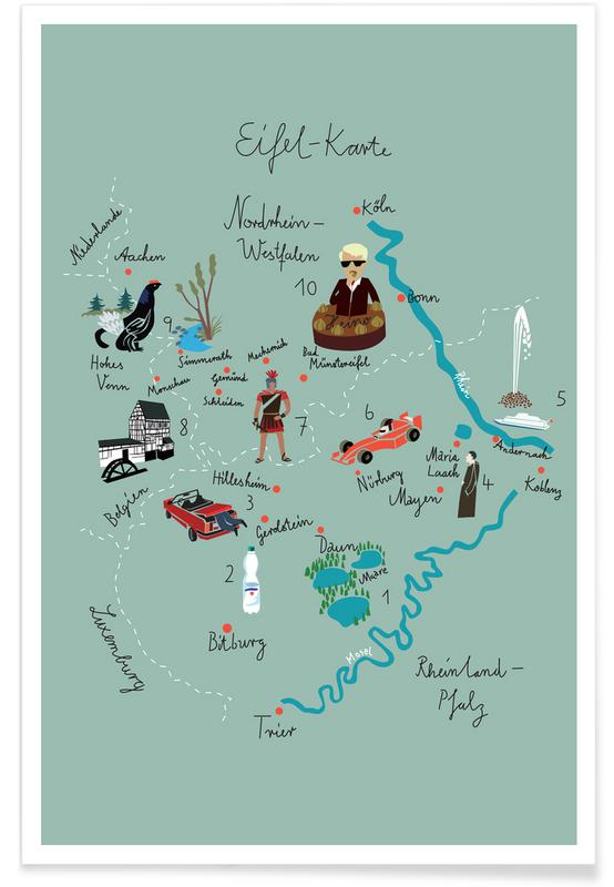 , Eifelkarte -Poster