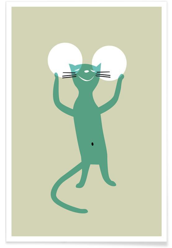 Katzen, Kinderzimmer & Kunst für Kinder, White Ears -Poster