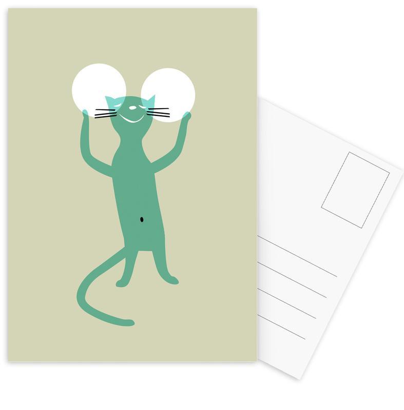 Chats, Art pour enfants, White Ears cartes postales