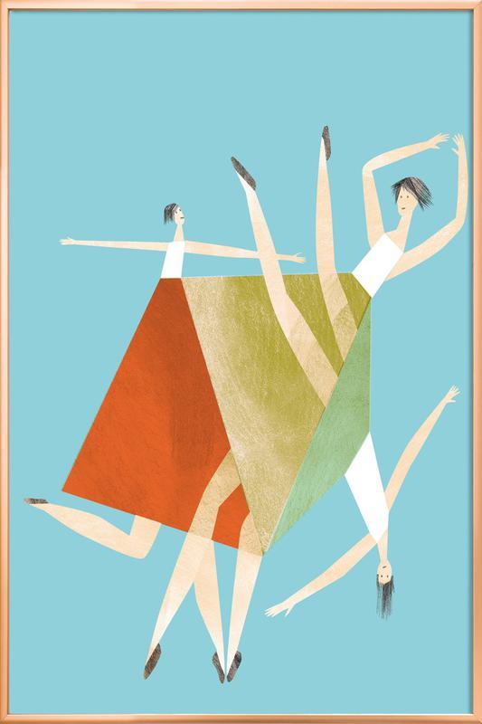 Dancing Blue Poster in Aluminium Frame