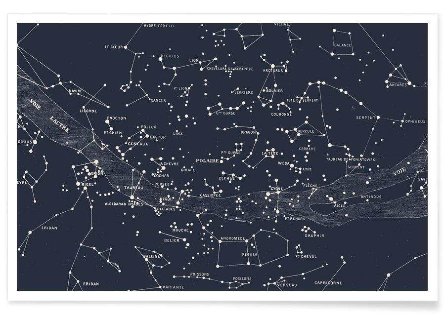 , Carte des étoiles affiche