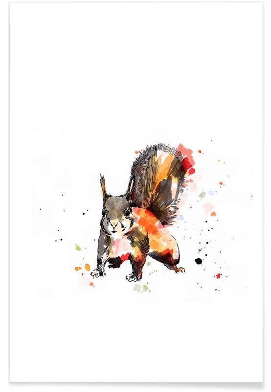 Art pour enfants, Ecureuils, Ed affiche
