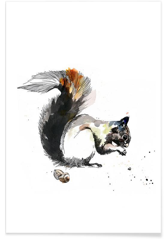 Art pour enfants, Ecureuils, Ella affiche