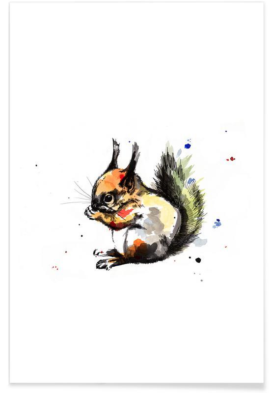 Art pour enfants, Ecureuils, Erin affiche