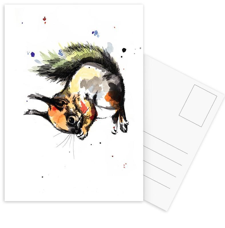 Kinderzimmer & Kunst für Kinder, Eichhörnchen, Erin -Postkartenset