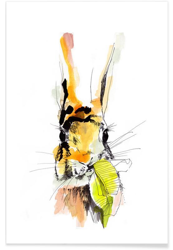 Kinderzimmer & Kunst für Kinder, Kaninchen, Hummel -Poster