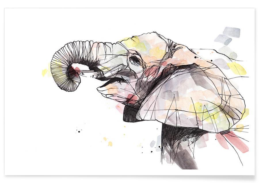 Éléphants, Art pour enfants, Eira affiche