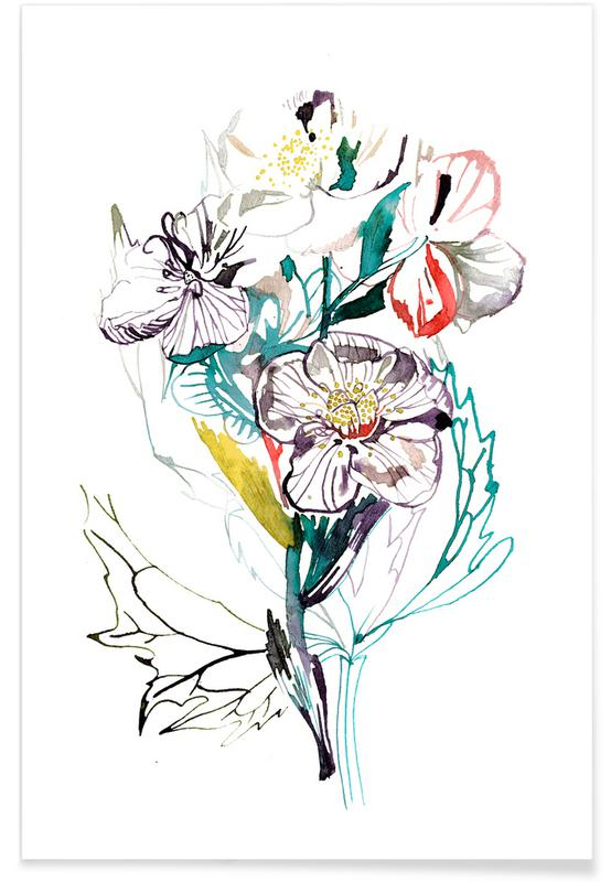 Bouquet White poster