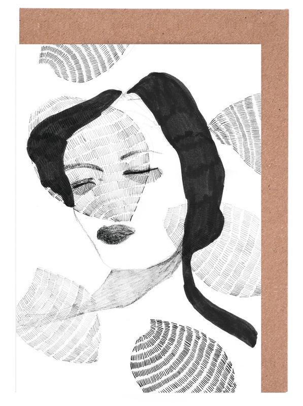 Schwarz & Weiß, Porträts, Girl -Grußkarten-Set
