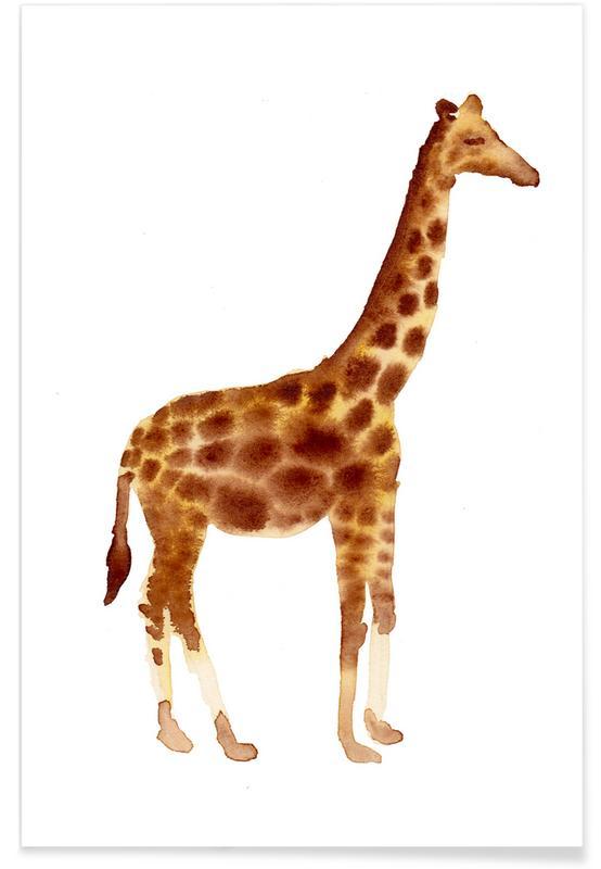 Kinderzimmer & Kunst für Kinder, Safari-Tiere, Giraffe -Poster