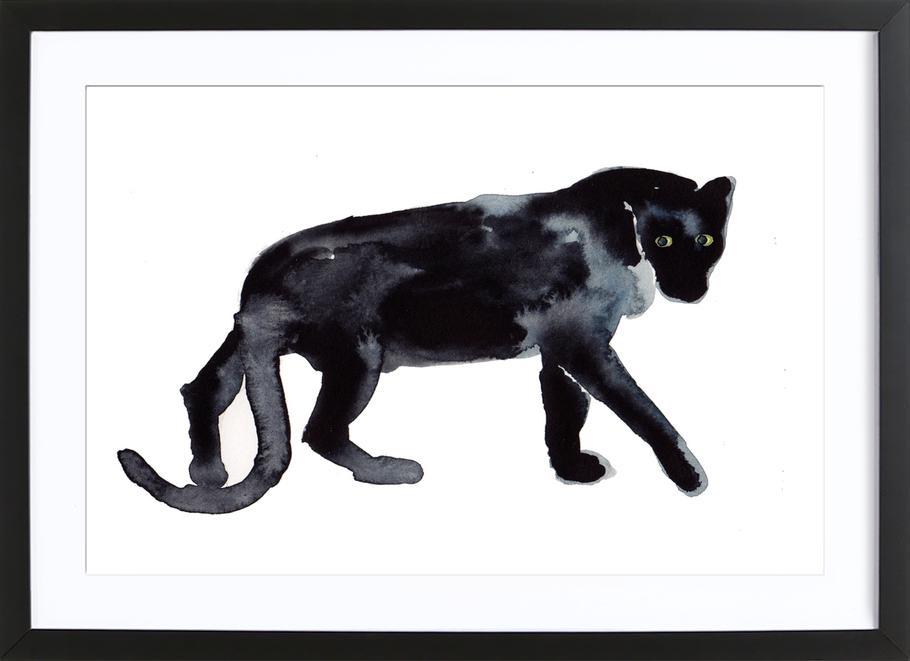 Panther -Bild mit Holzrahmen