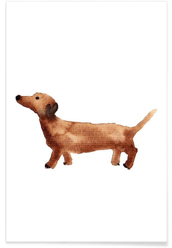 Honden, Kunst voor kinderen, Sausage Dog poster