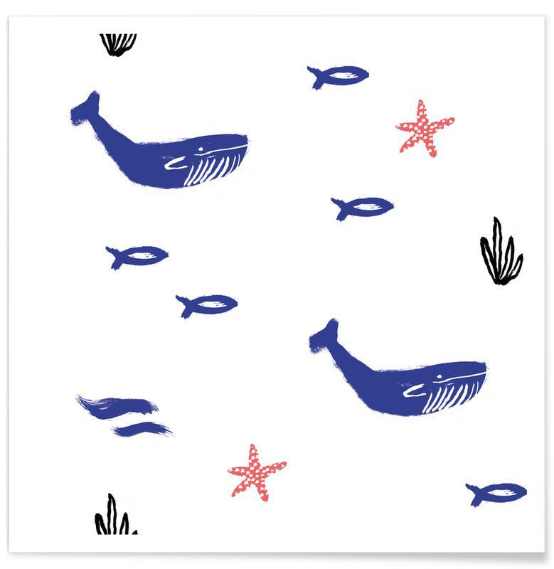 Art pour enfants, Baleines, Whale Underwater affiche