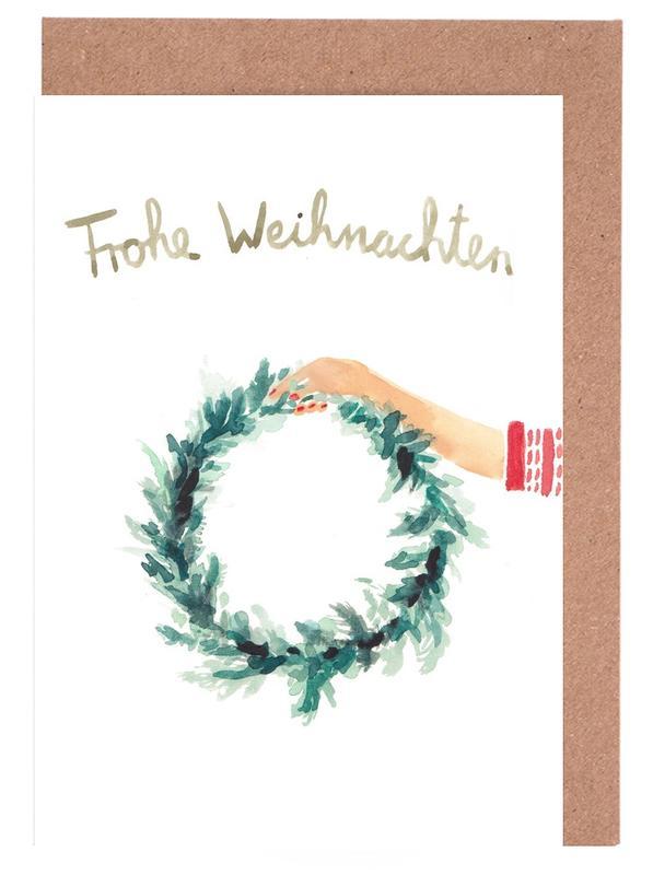 Weihnachten, Kranz -Grußkarten-Set
