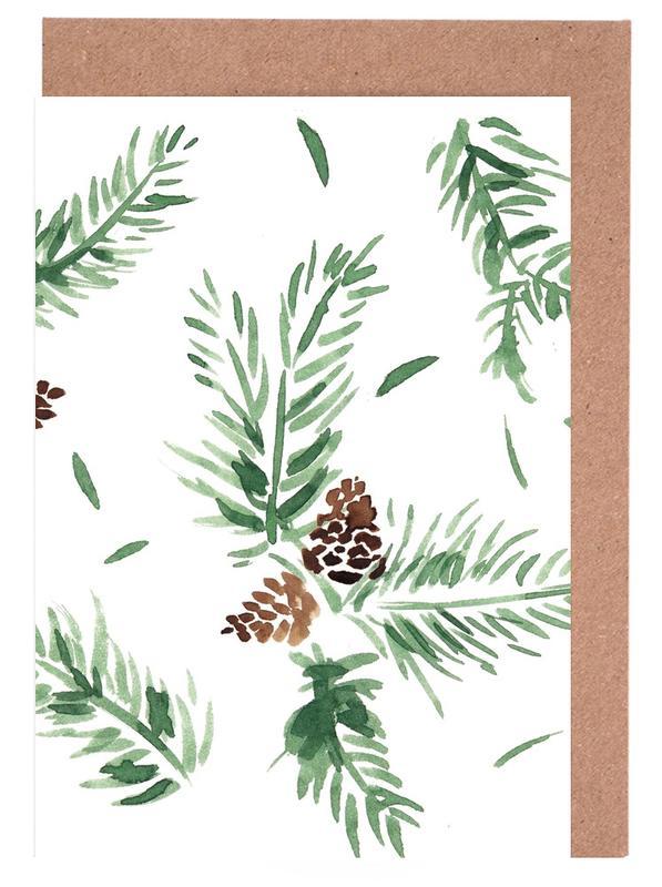Weihnachten, Blätter & Pflanzen, Tannenzweige -Grußkarten-Set