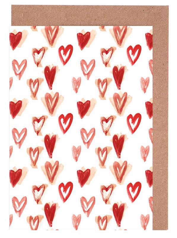 Raining Hearts Greeting Card Set