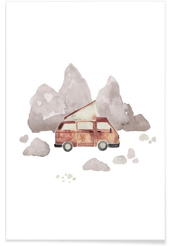 Autos, Kinderzimmer & Kunst für Kinder, Reise, Adventure Van Rocks -Poster