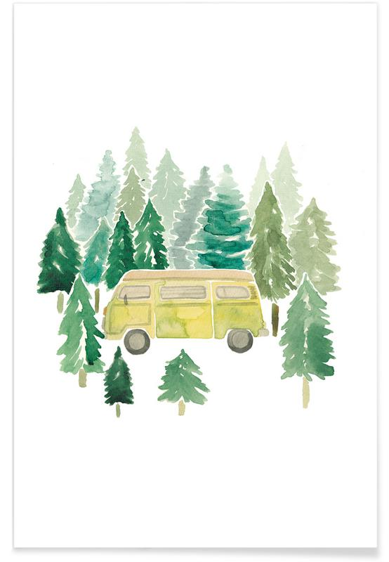 Cars, Nursery & Art for Kids, Travel, Adventure Van Woods Poster
