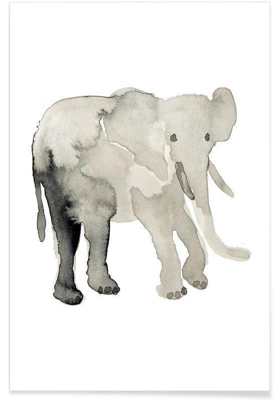 Éléphants, Art pour enfants, Elephant affiche