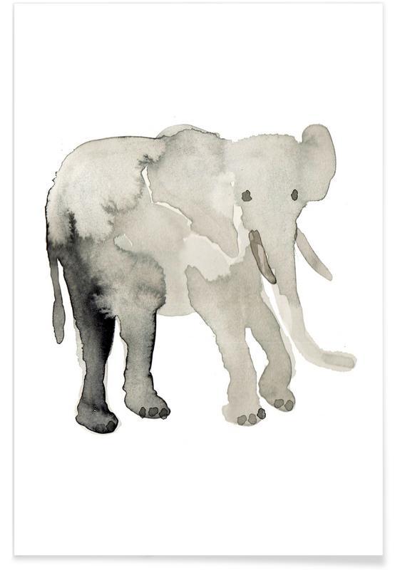 Elefanten, Kinderzimmer & Kunst für Kinder, Elephant -Poster