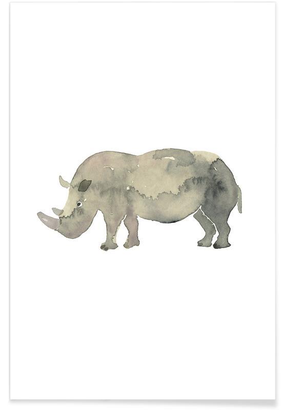 Kinderzimmer & Kunst für Kinder, Nashörner, Rhino -Poster
