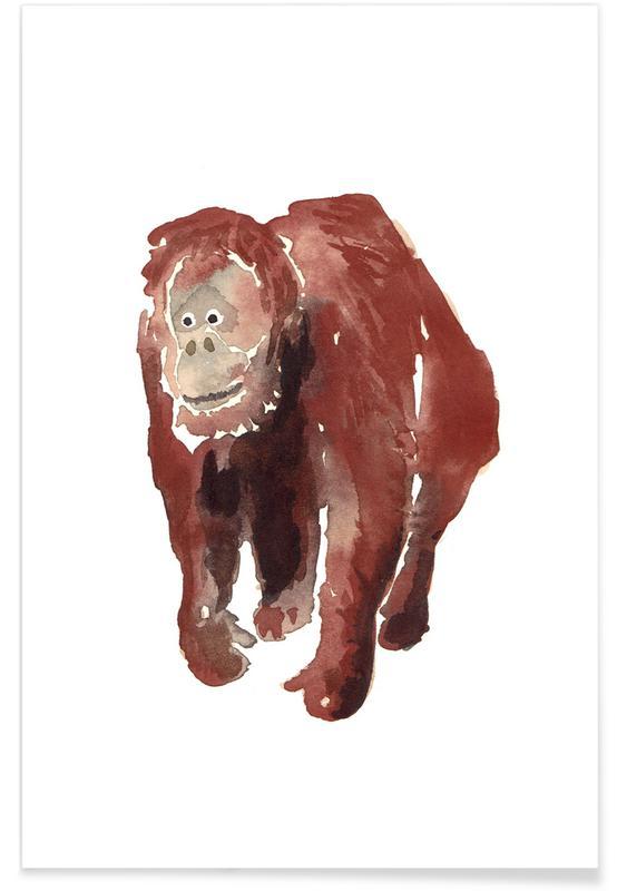 Monkeys, Nursery & Art for Kids, Orang Utan Poster