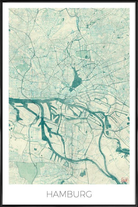 Hamburg Vintage -Bild mit Kunststoffrahmen