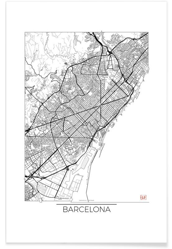 Stadtpläne, Barcelona, Barcelona-Minimalistische Stadtkarte -Poster