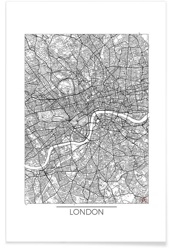 Londres, Cartes de villes, Londres - Carte minimaliste affiche