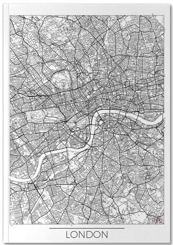 London, City Maps, London Minimal Notebook