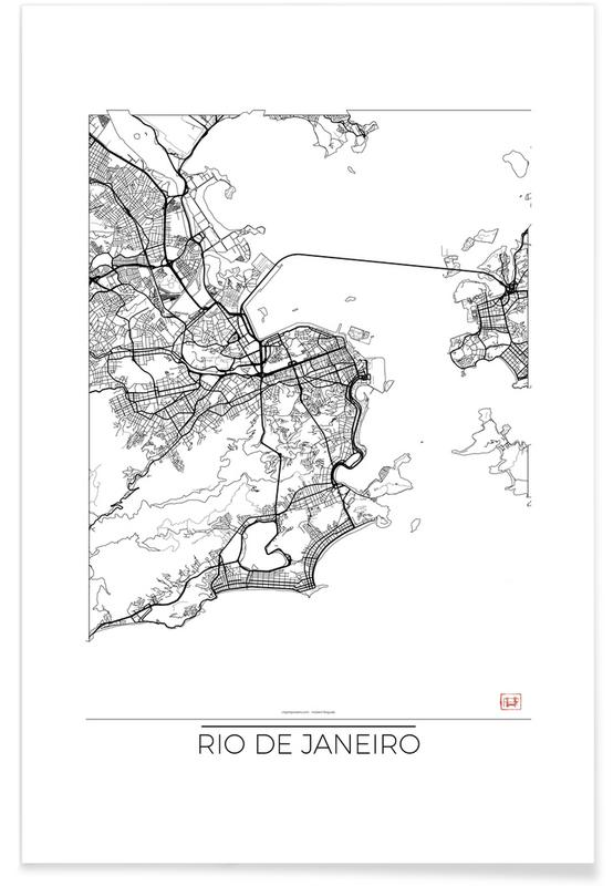 Rio de Janeiro, City Maps, Rio de Janeiro Minimal Map Poster